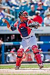 22 July 2018: Syracuse Sky Chiefs catcher Pedro Severino in action against the Louisville Bats at NBT Bank Stadium in Syracuse, NY. The Bats defeated the Chiefs 3-1 in AAA International League play. Mandatory Credit: Ed Wolfstein Photo *** RAW (NEF) Image File Available ***