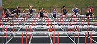 NWA Democrat-Gazette/J.T. WAMPLER Girls compete in the 100 meter hurdles Thursday April 26, 2018 at the 7A-West Conference track meet at War Eagle Stadium at Rogers Heritage High School.