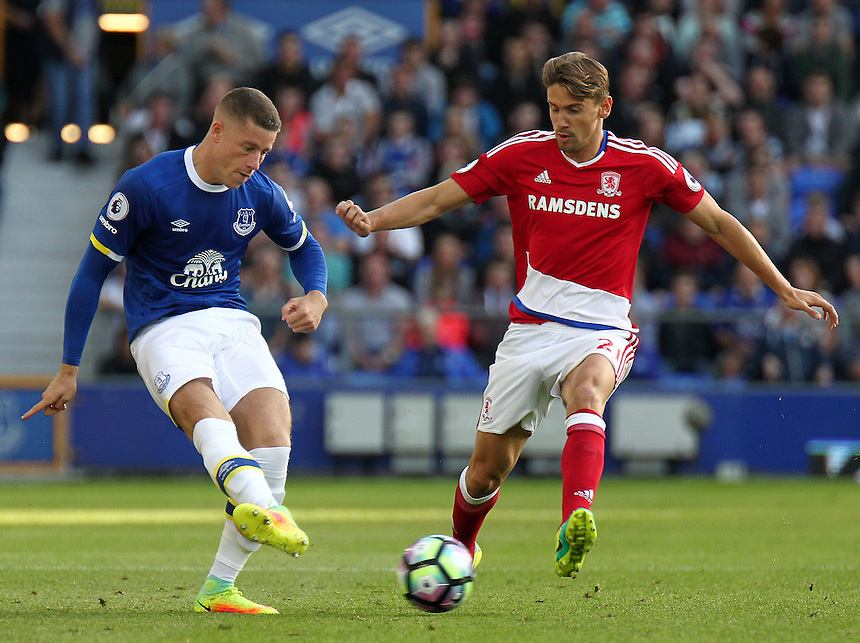 Everton's Ross Barkley under pressure from Middlesbrough's Gaston Ramirez<br /> <br /> Photographer Rich Linley/CameraSport<br /> <br /> The Premier League - Everton v Middlesbrough - Saturday 17th September 2016 - Goodison Park - Liverpool<br /> <br /> World Copyright &copy; 2016 CameraSport. All rights reserved. 43 Linden Ave. Countesthorpe. Leicester. England. LE8 5PG - Tel: +44 (0) 116 277 4147 - admin@camerasport.com - www.camerasport.com