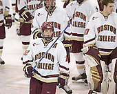 Saluting the fans - Chris Collins (Tim Filangieri, Adam Reasoner)  The Boston College Eagles and University of New Hampshire earned a 3-3 tie on Thursday, March 2, 2006, on Senior Night at Kelley Rink at Conte Forum in Chestnut Hill, MA.  Boston College honored its three seniors, captain Peter Harrold and alternate captains Chris Collins and Stephen Gionta, before the game.