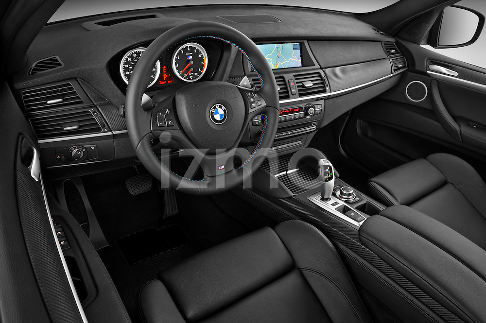 High angle dashboard view of a 22013 BMW X5 M