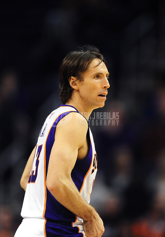 Jan. 12, 2012; Phoenix, AZ, USA; Phoenix Suns guard Steve Nash during the game against the Cleveland Cavaliers at the US Airways Center. The Cavaliers defeated the Suns 101-90. Mandatory Credit: Mark J. Rebilas-USA TODAY Sports
