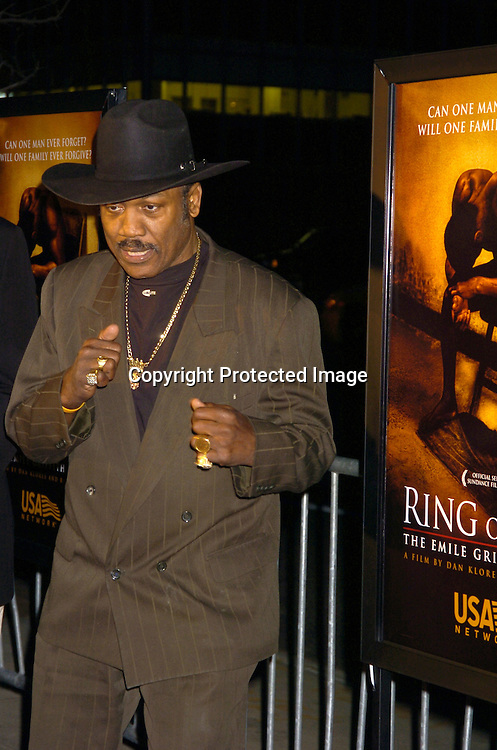 "Joe Frazier ..at the World Premiere of ""Ring of Fire: The Emile Griffith Story"" at The Beekman Theatre on April 13, 2005 ...The film was directed by Dan Klores and Ron Berger..and will be shown on USA Network on April 20, 2005. ..Photo by Robin Platzer, Twin Images..."