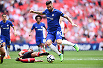 Olivier Giroud of Chelsea scores the opening goal of the game during the FA cup semi-final match at Wembley Stadium, London. Picture date 22nd April, 2018. Picture credit should read: Robin Parker/Sportimage