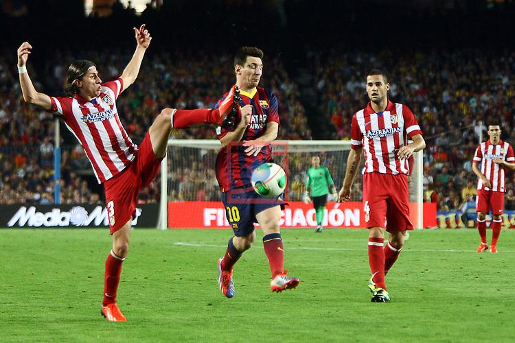 Supercopa de Espanya - Tornada.<br /> 2013-08-28-FC Barcelona vs Atletico de Madrid: 0-0.<br /> Filipe Luis, Lionel Messi &amp; M. Suarez.