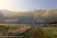 Dan Lawson Place at sunrise, Cades Cove, Great Smoky Mountains National Park, Tennessee