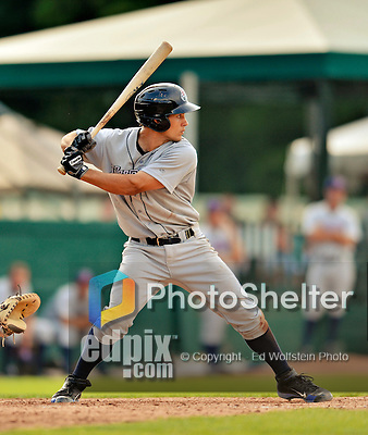 4 July 2012: Hudson Valley Renegades first baseman Luke Maile in action against the Vermont Lake Monsters at Centennial Field in Burlington, Vermont. The Lake Monsters edged out the Renegades the Cyclones 2-1 in NY Penn League action. Mandatory Credit: Ed Wolfstein Photo
