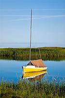 Sailboat in Cape Cod Bay, Orleans, Cape Cod, MA, Massachusetts, USA