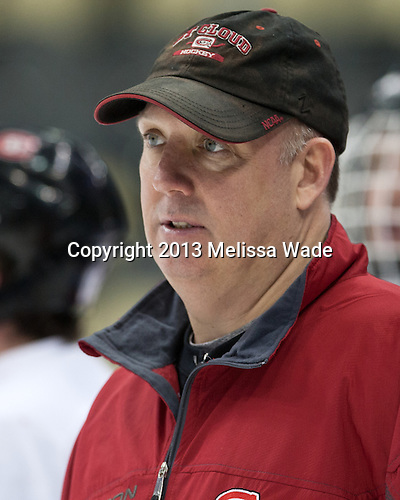 Bob Motzko (SCSU - Head Coach) - The Frozen Four competitors practice at Pittsburgh's Consol Energy Center on Wednesday, April 10, 2013, in preparation for their semi-final games on Thursday.