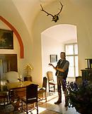 AUSTRIA, Bernstein, portrait of Alexander Berger-Almasy inside the Burg Bernstein Castle and Hotel, Burgenland