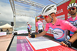Amore &amp; Vita-Prodir at sign on before the start of Stage 4 of Il Giro di Sicilia 2019 running 119km from Giardini Naxos to Mount Etna (Nicolosi), Italy. 6th April 2019.<br /> Picture: LaPresse/Massimo Paolone | Cyclefile<br /> <br /> All photos usage must carry mandatory copyright credit (&copy; Cyclefile | LaPresse/Massimo Paolone)