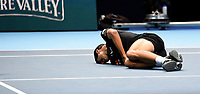 Marcelo Melo on the floor in pain after being hit by the ball <br /> <br /> Photographer Hannah Fountain/CameraSport<br /> <br /> International Tennis - Nitto ATP World Tour Finals Day 2 - O2 Arena - London - Monday 12th November 2018<br /> <br /> World Copyright &copy; 2018 CameraSport. All rights reserved. 43 Linden Ave. Countesthorpe. Leicester. England. LE8 5PG - Tel: +44 (0) 116 277 4147 - admin@camerasport.com - www.camerasport.com