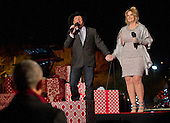 Country singers Garth Brooks and Tricia Yearwood perform at the National Christmas Tree Lighting on the Ellipse in Washington, DC on Thursday, December 1, 2016. United States President Barack Obama is seen at lower left.<br /> Credit: Ron Sachs / Pool via CNP