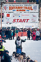 Musher # 10 Ray Redington Jr at the Restart of the 2009 Iditarod in Willow Alaska