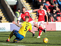 Fleetwood Town's Paddy Madden competing with Charlton Athletic's Patrick Bauer  <br /> <br /> Photographer Andrew Kearns/CameraSport<br /> <br /> The EFL Sky Bet League One - Fleetwood Town v Charlton Athletic - Saturday 2nd February 2019 - Highbury Stadium - Fleetwood<br /> <br /> World Copyright © 2019 CameraSport. All rights reserved. 43 Linden Ave. Countesthorpe. Leicester. England. LE8 5PG - Tel: +44 (0) 116 277 4147 - admin@camerasport.com - www.camerasport.com