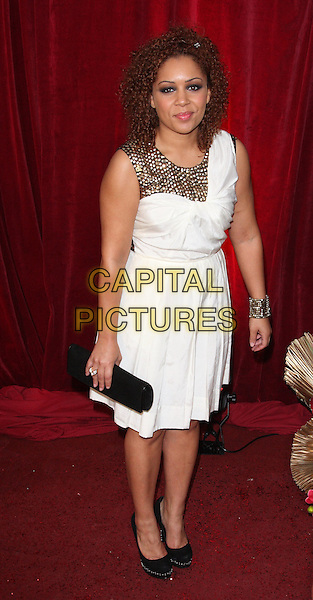 TANYA VITAL.British Soap Awards 2010 at the London ITV Studios, South Bank, London, England..May 8th 2010.arrivals full length black white dress gold studs studded clutch bag sleeveless.CAP/ROS.©Steve Ross/Capital Pictures.