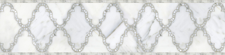 "9 3/4"" Dervish border, a waterjet and hand-cut mosaic shown in polished Calacatta Tia, is part of the Silk Road® collection by New Ravenna."