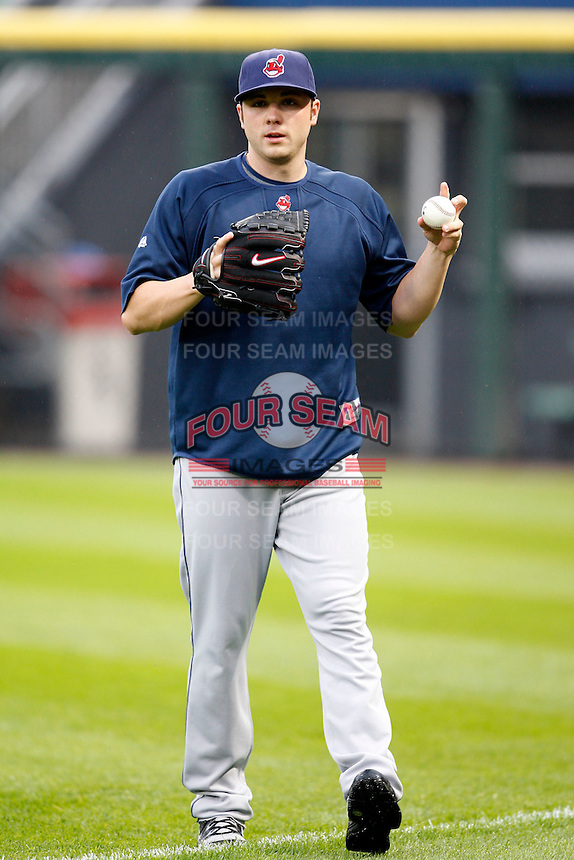 August 7, 2009:  Pitcher Aaron Laffey of the Cleveland Indians throws in the outfield before a game vs. the Chicago White Sox at U.S. Cellular Field in Chicago, IL.  The Indians defeated the White Sox 6-2.  Photo By Mike Janes/Four Seam Images