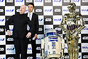 March 20, 2017, Tokyo, Japan - US movie Star Wars' C-3PO actor Anthony Daniels smiles with C-3PO and R2-D2 robots as he attends a presentation of All Nippon Airways (ANA) C-3PO jetliner at a hanger of ANA at Tokyo's Haneda airport on Monday, March 20, 2017. C-3PO designed Boeing 777-200 jet will start domestic flight service from March 21.    (Photo by Yoshio Tsunoda/AFLO) LwX -ytd-
