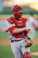 Louisville Bats catcher Chris Berset (10) pumps his fist after a play at the plate during a game against the Buffalo Bisons on June 22, 2016 at Coca-Cola Field in Buffalo, New York.  Buffalo defeated Louisville 8-1.  (Mike Janes/Four Seam Images)