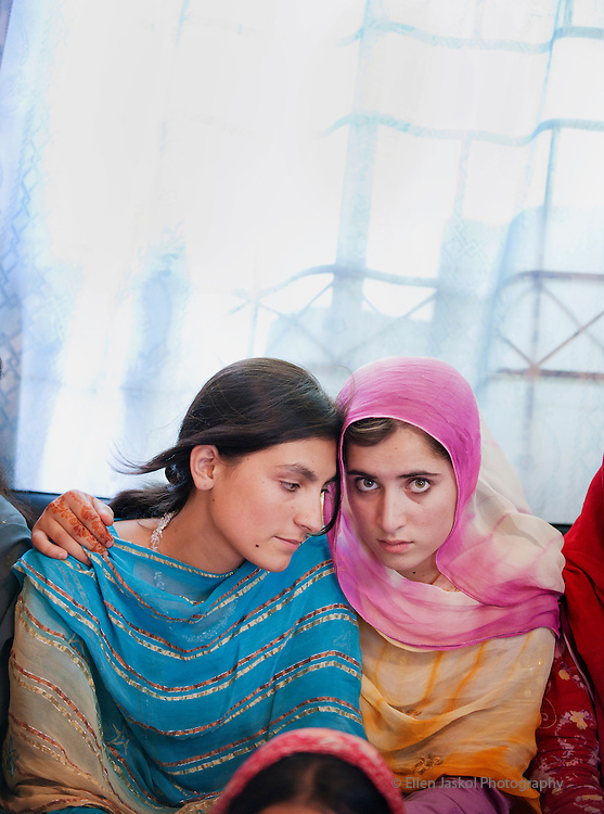 Scholarship students stay in hostels in Rawalpindi, Pakistan on June 9, 2010.  Nazlee, 15, left,  and Albina, 15.    Photo by Ellen Jaskol.