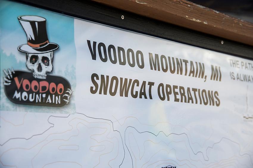 Cat skiing at Voodoo Mountain part of Mount Bohemia ski area in Michigan.