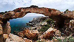 Kamara Tou Koraka panorama, Natural bridge. Cape Gkreko, Cyprus, the Mediterranean sea.