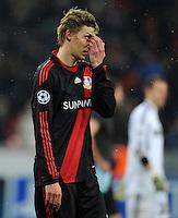 FUSSBALL   CHAMPIONS LEAGUE   SAISON 2011/2012   ACHTELFINALE  Bayer 04 Leverkusen - FC Barcelona              14.02.2012 Stefan Kiessling (Bayer 04 Leverkusen) nach dem Abpfiff enttaeuscht