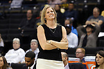 18 February 2016: Wake Forest head coach Jen Hoover. The Wake Forest University Demon Deacons hosted the University of Notre Dame Fighting Irish at Lawrence Joel Veterans Memorial Coliseum in Winston-Salem, North Carolina in a 2015-16 NCAA Division I Women's Basketball game. Notre Dame won the game 86-52.