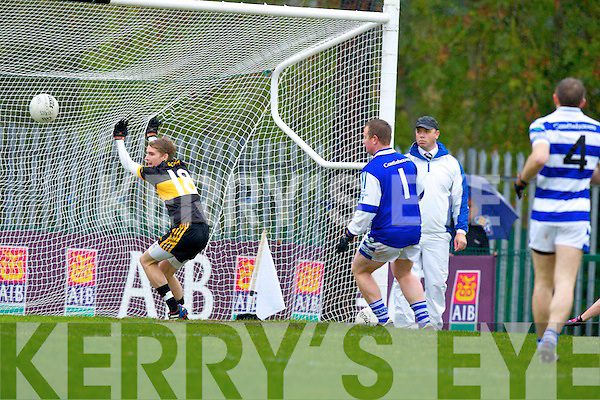 Super sub: Young Gavin O'Shea punches the ball into the net to score Crokes only goal with his first touch of the ball after coming on against Castlehaven during their Munster Club Championship QF in Lewis Road on Sunday