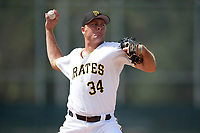Pittsburgh Pirates pitcher Beau Sulser (34) delivers a pitch during an Instructional League intrasquad game on October 11, 2017 at Pirate City in Bradenton, Florida.  (Mike Janes/Four Seam Images)