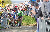 Sep Vanmarcke (BEL/Cannondale Drapac) leads the chase on the Oude Kwaremont<br /> <br /> 101st Ronde van Vlaanderen  2017 (1.UWT)<br /> 1day race: Antwerp-Oudenaarde (260km)