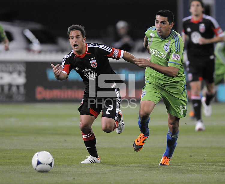 D.C. United midfielder Danny Cruz (2) shields the ball against Seattle Sounder defender Leo Gonzalez (12)  D.C. United tied The Seattle Sounders 0-0 at RFK Stadium, Saturday April 7 , 2012.