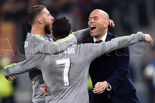 17.02.2016. Stadio Olimpico, Rome, Italy. UEFA Champions League, Round of 16 - first leg, AS Roma versus Real Madrid.  Cristiano Ronaldo celebrates his goal with Zinedine Zidane.