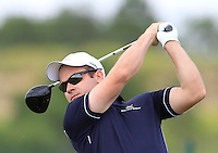 Ken Benz (SUI) on the 1st tee during Round 1 of the Challenge de Madrid, a Challenge  Tour event in El Encin Golf Club, Madrid on Wednesday 22nd April 2015.<br /> Picture:  Thos Caffrey / www.golffile.ie