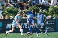 Allston, MA - Saturday August 19, 2017: Steph Catley, Ifeoma Onumonu, Chioma Ubogagu during a regular season National Women's Soccer League (NWSL) match between the Boston Breakers and the Orlando Pride at Jordan Field.