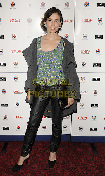 "Jane March.attended the ""Stalker"" UK film premiere, Empire cinema, Leicester Square, London, England, 15th October 2011..full length green print top black leather trousers  grey gray jacket coat shoes  clutch bag .CAP/CAN.©Can Nguyen/Capital Pictures."