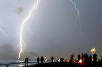 Apr 15, 2006; St. Petersburg, FL; Lightning strikes the beach during Fourth of July celebrations on Treasure Island, Florida. Photo by Matt May