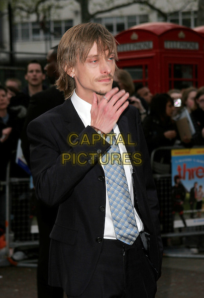 "MACKENZIE CROOK.World Premiere of ""Three and Out"" at the Odeon Leicester Square, London, England..April 21st 2008 .3 half length black suit jacket tie grey gray goatee facial hair hand.CAP/AH.©Adam Houghton/Capital Pictures."