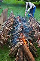 Europe/France/Aquitaine/64/Pyrénées-Atlantiques/Pays-Basque/Sare: Lors du  Concours De Pottok _ Préparation du repas  cuisson du mouton au feu de bois