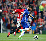 Paul Pogba of Manchester United in action with Diego Costa of Chelsea during the English Premier League match at Old Trafford Stadium, Manchester. Picture date: April 16th 2017. Pic credit should read: Simon Bellis/Sportimage