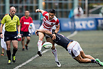 Akihito Yamada of Japan (L) in action during the Asia Rugby Championship 2017 match between Hong Kong and Japan on May 13, 2017 in Hong Kong, Hong Kong. (Photo by Cris Wong / Power Sport Images)