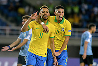PEREIRA - COLOMBIA, 22-01-2020: M Cunha de Brasil celebra después de anotar el segundo gol de su equipo durante partido entre Brasil y Uruguay por la fecha 2, grupo B, del CONMEBOL Preolímpico Colombia 2020 jugado en el estadio Hernan Ramirez Villegas en Pereira, Colombia. / M Cunha of Brazil celebrates after scoring the secondgoal of his team during the match between Brazil and Uruguay for the date 2, group B, for the CONMEBOL Pre-Olympic Tournament Colombia 2020 played at Hernan Ramirez Villegas stadium in Pereira, Colombia. Photo: VizzorImage / Cristian Alvarez / Cont