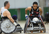 27 MAY 2013 - DONCASTER, GBR - Ayaz Bhuta (right) of the West Coast Crash races for the goal line during the 2013 Great Britain Wheelchair Rugby Nationals bronze medal match against the South Wales Pirates at The Dome in Doncaster, South Yorkshire .(PHOTO (C) 2013 NIGEL FARROW)