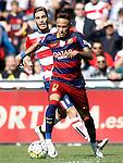 Granada's Ruben Rochina (l) and FC Barcelona's Neymar Santos Jr during La Liga match. May 14,2016. (ALTERPHOTOS/Acero)