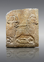 Hittite relief sculpted orthostat stone panel of Long Wall Limestone, Karkamıs, (Kargamıs), Carchemish (Karkemish), 900 - 700 B.C. Chariot. Anatolian Civilisations Museum, Ankara, Turkey<br /> <br /> One of the two figures in the chariot holds the horse's headstall while the other throws arrows. There is a naked enemy with an arrow in his hip lying face down under the horse's feet It is thought that this figure is depicted smaller than the other figures since it is an enemy soldier. The lower part of the orthostat is decorated with braiding motifs. <br /> <br /> On a gray background.