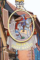 wrought iron sign hotel saint martin colmar alsace france