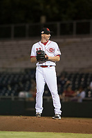 Scottsdale Scorpions relief pitcher Wyatt Strahan (32), of the Cincinnati Reds organization, gets ready to deliver a pitch during an Arizona Fall League game against the Salt River Rafters at Scottsdale Stadium on October 12, 2018 in Scottsdale, Arizona. Scottsdale defeated Salt River 6-2. (Zachary Lucy/Four Seam Images)