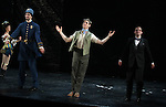 Timothy Hughes, Ian Liberto & Justin Bowen during the Curtain Call and check presentation to The Lil' Bravest Charity Inc. at 'Chaplin' at the Barrymore Theatre in New York City on 11/09/2012