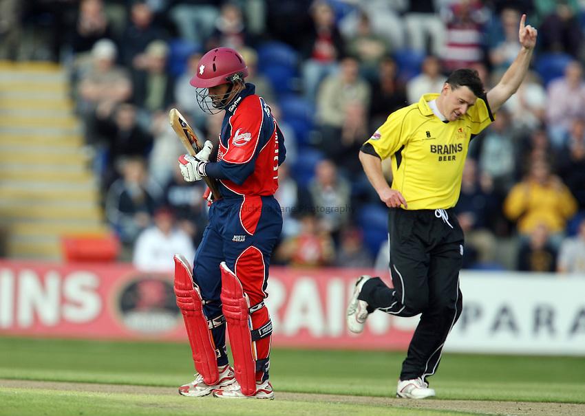 Photo: Rich Eaton...Glamorgan v Somerset. The Twenty20 Cup. 26/06/2007. Glamorgan's Andrew Davies celebrates taking the wicket of Justin Langer.